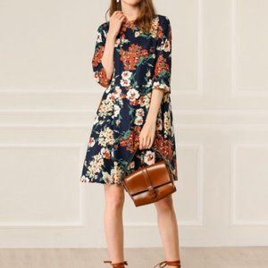 Women's Spring Floral Print Dress 3/4 Sl